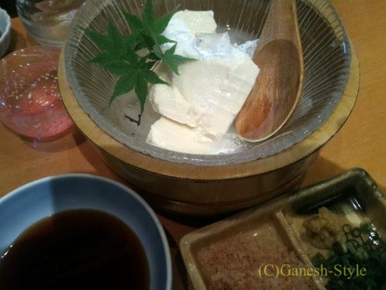 新潟の繁華街古町にある郷土料理居酒屋 越後茶屋古町酒房のおぼろ豆腐