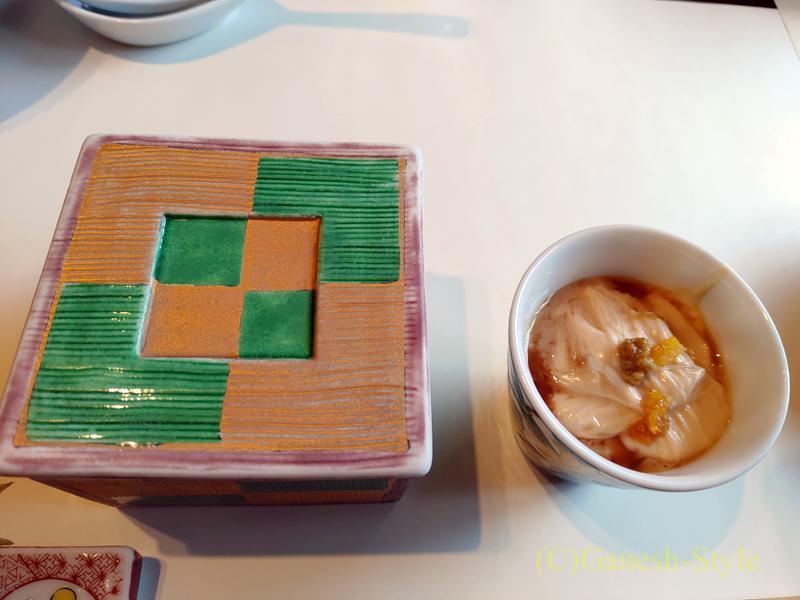梅の花越谷レイクタウン店で出た嶺岡豆腐と湯葉煮概観