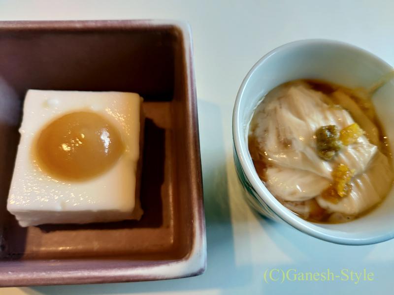 梅の花越谷レイクタウン店で出た嶺岡豆腐と湯葉煮の中身