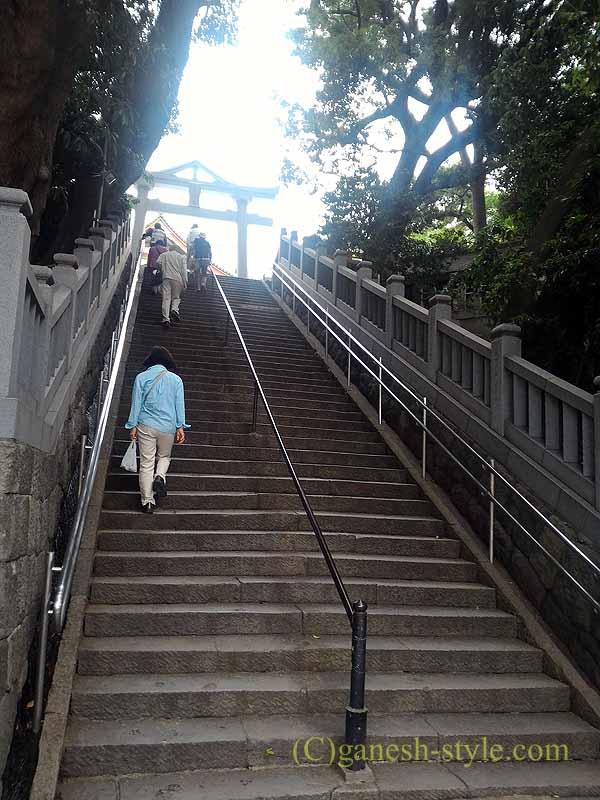 東京目黒にある病気平癒に霊験あらたかな目黒不動尊の男坂